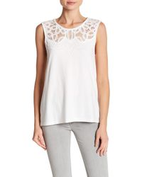 French Connection - Ekon Embellished Lace Tank Top - Lyst