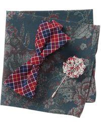 Original Penguin Walford Plaid Bow Tie, Pocket Square, & Lapel Pin Set - Red