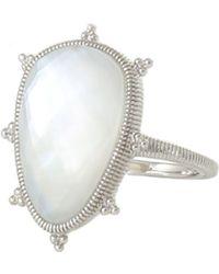 Judith Ripka Amalfi Sterling Silver Bezel Set Mother Of Pearl & Quartz Doublet Ring - Size 7 - Metallic