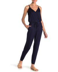 Go Couture Drawstring Waist Knit Jumpsuit - Blue