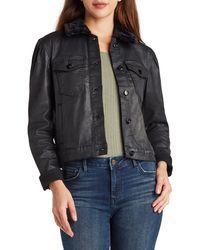 Sam Edelman Jazzi Coated Denim Jacket With Faux Fur Collar - Multicolor