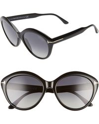 Tom Ford Maxine 56mm Polarized Round Sunglasses - Multicolor