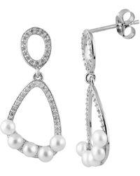 Splendid Cz Pave Dangling 3-4mm Pearl Earirngs - White