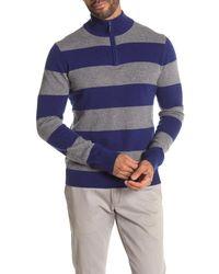 Quinn Rugby Stripe Cashmere Quarter Zip Sweater - Blue