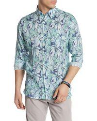 Michael's Swimwear Printed Linen Hawaiian Shirt - Blue