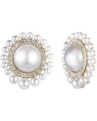 Carolee Pearl Clip Earrings - Metallic