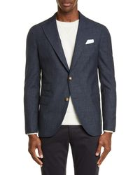Eleventy Trim Fit Solid Wool Blend Sport Coat - Blue