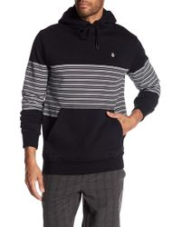 Volcom - Striped Hoodie With Logo - Lyst