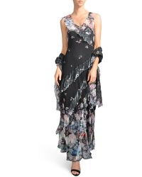 Komarov Ruffle Maxi Dress With Wrap - Multicolor