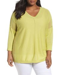 Sejour Sheer Inset Linen Blend Tunic Top (plus Size) - Green