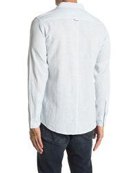 Onia Abe Pinstripe Linen Blend Regular Fit Shirt - Blue