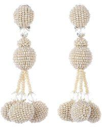 Oscar de la Renta - Beaded Pompom Tassel Clip On Earrings - Lyst