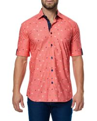 Maceoo - Fresh Coral Shell Short Sleeve Regular Fit Dress Shirt - Lyst