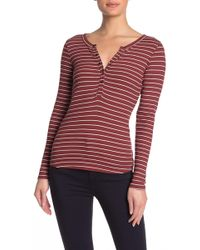 PAIGE Marlea Striped Long Sleeve Henley - Red
