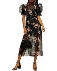 TOPSHOP Black Floral Printed Organza Midi Dress
