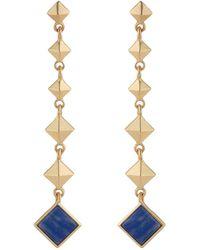 Jardin Graduated Pyramid Stud Semi Precious Sodalite Stone Drop Earrings - Metallic