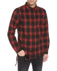 The Rail - Shredded Plaid Flannel Shirt - Lyst
