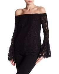 Romeo and Juliet Couture Lace Off Shoulder Flare Sleeve Blouse - Black