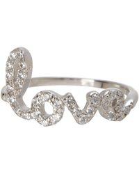 Adornia - Sterling Silver Pave Swarovski Crystal Cursive Love Ring - Size 9 - Lyst