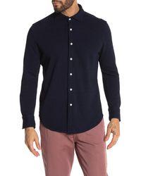 Thomas Dean Waffle Knit Shirt - Blue