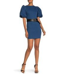 Jealous Tomato Bubble Sleeve Belted Denim Mini Dress - Blue