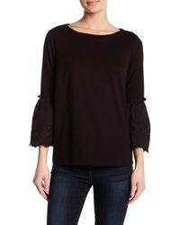 Gibson - Eyelet Trim 3/4 Length Sleeve Shirt - Lyst