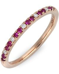 Bony Levy - 18k Rose Gold Pave Diamond & Ruby Stackable Band Ring - 0.05 Ctw - Lyst