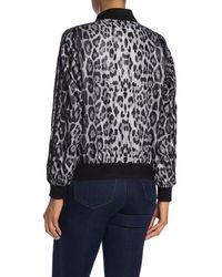 Love Token Leopard Print Sparkle Stripe Bomber Jacket - Black