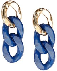 Jardin Colorblock Curb Chain Link Drop Earrings - Blue