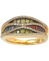 Suzy Levian 14k Gold Plated Sterling Silver Multicolor Pave Ring - Metallic