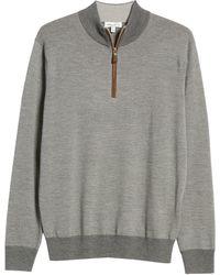 Peter Millar Needle Stripe Quarter Zip Wool Sweater - Gray