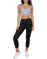 90 Degrees Lux Supportive Waistband Capri Leggings - Black