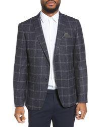 Sand - Trim Fit Windowpane Wool Blend Sport Coat - Lyst