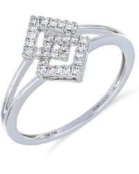 Bony Levy - 18k White Gold Pave Diamond Interlocked Split Shank Ring - Size 7 - 0.16 Ctw - Lyst