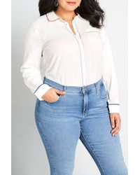 ModCloth Primary Pick Long Sleeve Blouse - White