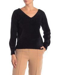 Catherine Malandrino - Long Sleeve Fuzzy V-neck Sweater - Lyst