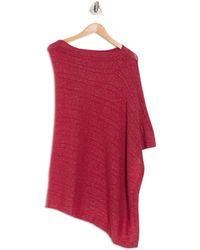 Portolano Cowl Neck Lurex Knit Poncho In Strawberry At Nordstrom Rack - Red