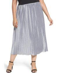 Sejour - Pleat Velour Midi Skirt (plus Size) - Lyst