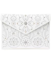 Rebecca Minkoff Perforated Leather Leo Clutch - White