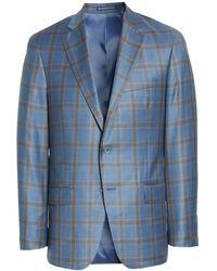 Hart Schaffner Marx New York Classic Fit Plaid Wool Sport Coat - Blue