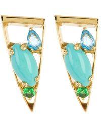 Ippolita - 18k Gold Prisma Swiss Blue Topaz, Tsavorite, & Turquoise Post Earrings - Lyst