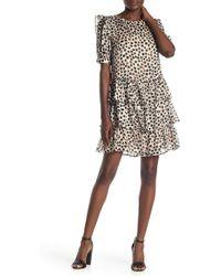 Everleigh Polka Dotted Chiffon Ruffle Dress - Multicolor