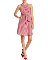 Soprano - Tie Front Gingham Print Dress - Lyst