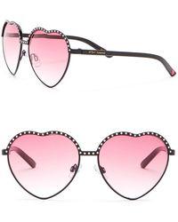 Betsey Johnson - Rhinestone Embellished Heart Sunglasses - Lyst
