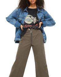 TOPSHOP - Wide Leg Crop Utility Jeans - Lyst