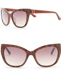 Guess - 54mm Crystal Accented Cat Eye Sunglasses - Lyst