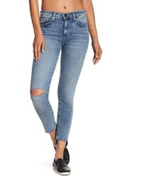 Current/Elliott - The Stiletto Distressed Raw Hem Jeans - Lyst
