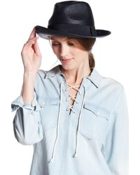 Ace of Something - Black Paper Accented Fedora Hat - Lyst