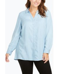 Foxcroft Split Collar Button Down Shirt - Blue