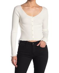Lush Long Sleeve Button Front Ribbed Crop Top - White